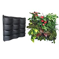 Florafelt Living Wall Planter Vertical Garden 12-pocket - 32 in X 24in (Includes Felt Wraps for Mess-free Gardening Hand Water or Use Included Soaker Hose for Outdoor or Water-safe Areas Stack to Create Any Size Living Wall)