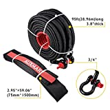 AUXMART Synthetic Winch Rope Winch Line Cable 20500LBs Protective Sleeve 95ft x 3/8 with D-Ring Shackle for ATV UTV SUV Truck Boat Ramsey