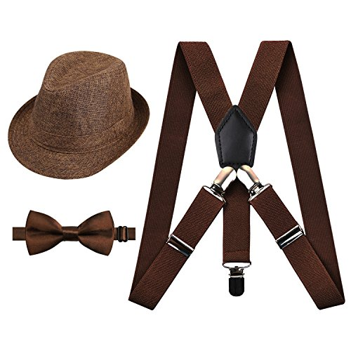 - 2.5cm Elastic Braces 3 Clip Suspender and Bow Tie Set with Hat for Kids, Coffee