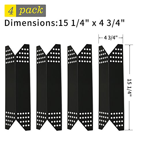 SHINESTAR Grill Replacement Parts for Members Mark, Nexgrill, 4-Pack 15 1/4 inch Porcelain Steel Heat Shield Plate Tent, Barbecue Flame Tamer BBQ Burner Cover Heat Deflector Vaporizor Bar(SS-HP021)