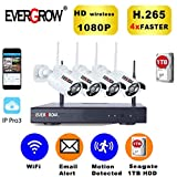 Best Night Vision For Home Securities - EVERGROW H.265 Wireless Home Security Cameras System, 4 Review