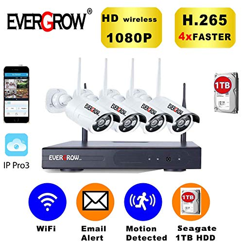 [2019 Newest] EVERGROW H.265 Wireless Home Security Cameras System,4 Channel Network IP NVR, 1TB Hard Drive,4 HD 2.0MP 1080P Wireless Weatherproof Indoor Outdoor WiFi Cameras,100ft Night Vision 4CH