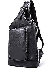 MUZOR Mens Genuine Leather Shoulder Sling Unbalance Backpack Chest Fanny Pack Black
