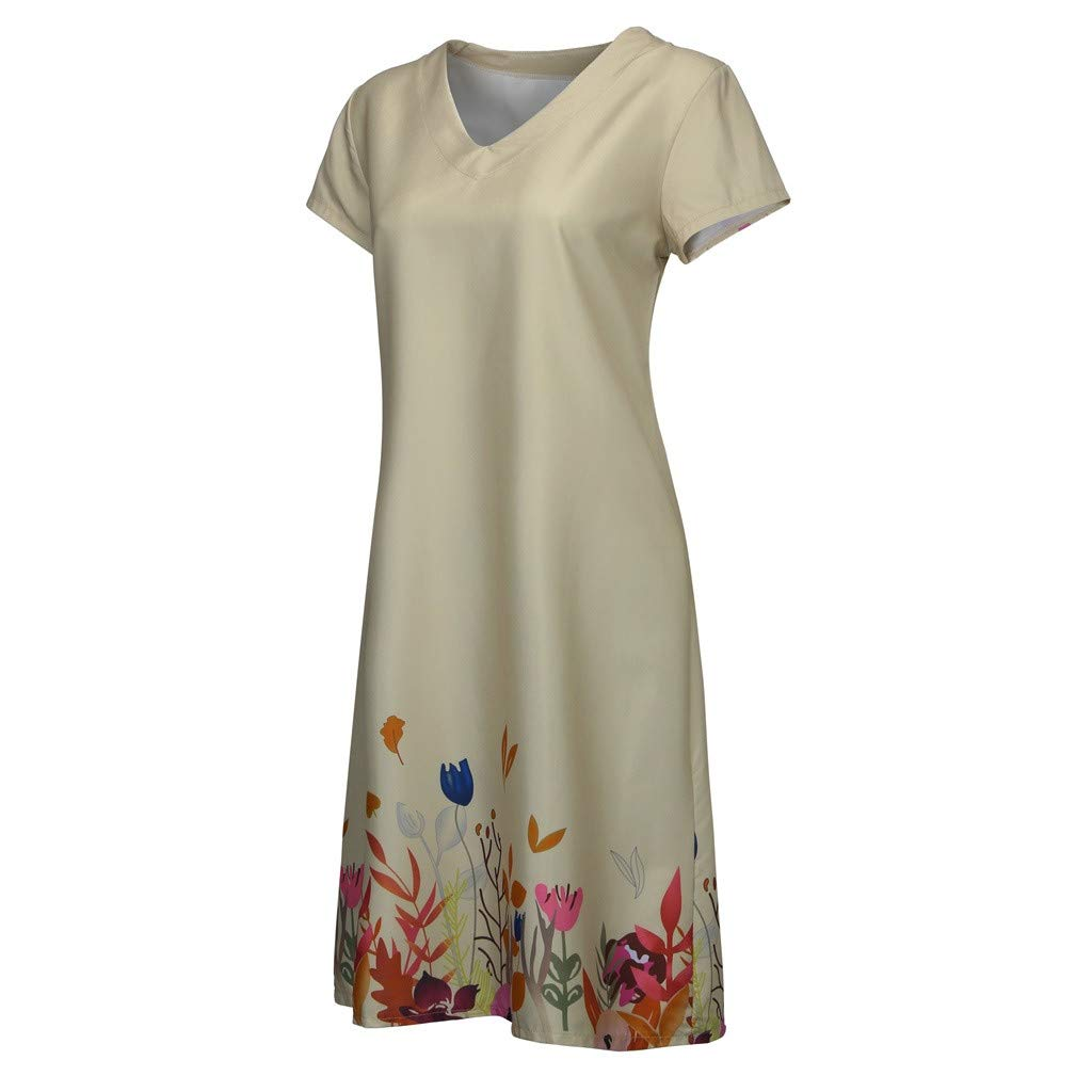 2019 Summer Women Casual Floral Print Dresses,V-Neck Short Sleeve T-Shirt Loose Beach Dresses S-3XL (Khaki, XXL) by Tanlo (Image #4)