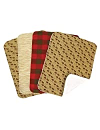 Trend Lab Northwoods Burp Cloth Set, Red/Tan, 4-Count