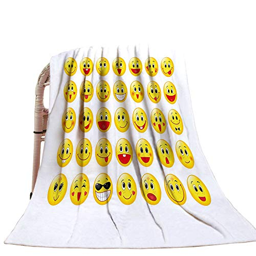 Emoji Throw Blanket Funny Yellow Heads Various Facial for sale  Delivered anywhere in USA