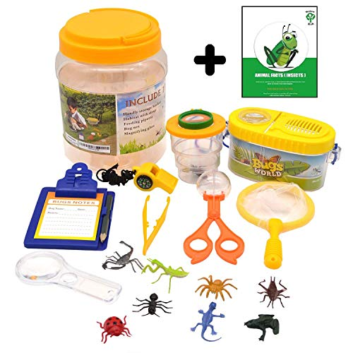 1ELEGANT Adventure Nature Kids - Bug Catcher, Habitat Bucket, Tongs, Magnifier, eBook & More. Educational Toys Kit, Great Set for 3, 4, 5, 6+ Year Old Boys & Girls | Birthday Gifts for Children -