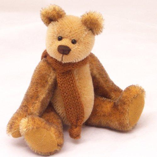 Ritz - Teddy Bear Brown/Gold Miniature Mohair Panda Collectable 5 1/2 inches