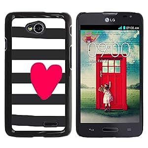 Paccase / SLIM PC / Aliminium Casa Carcasa Funda Case Cover para - Heart Love Pink White Black - LG Optimus L70 / LS620 / D325 / MS323