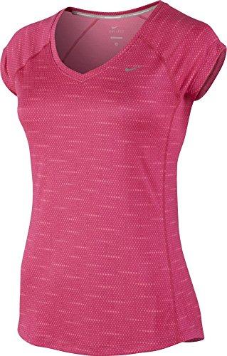 Nike Womens Printed Miler V-Neck - Pink - Medium