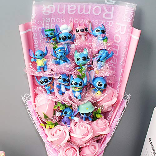 Soup Game Animal - CNC INC Stitch Soup Flower Stitch Plush Toys Anime Lilo and Stitch PVC Animal Dolls Kawaii Stich Bouquet Romantic Gift No Box
