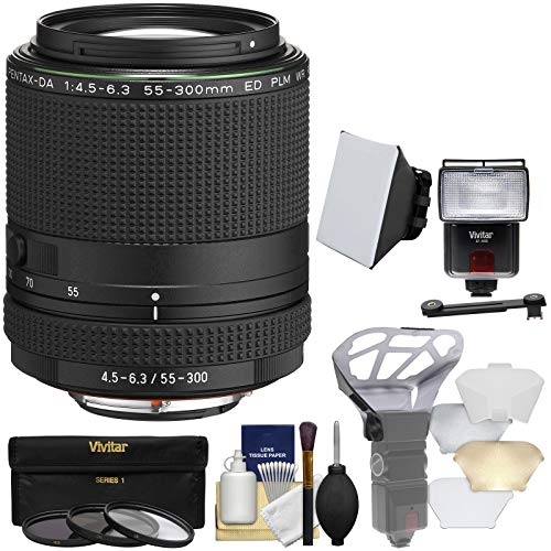 (Pentax HD DA 55-300mm f/4.5-6.3 ED PLM WR RE Zoom Lens with 3 UV/CPL/ND8 Filters + Flash & LED Video Light + Diffuser + Soft Box + Kit)