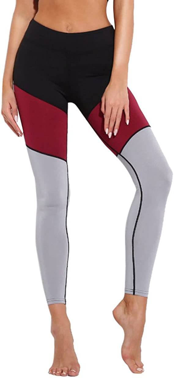 Leggings Deporte Mujer Mallas Fitness Empalme de Bloques de Colores Mujer Polaina Gym Mujer Pantalon Yoga Sexy Polainas Leggings EláSticos de Piratas ...