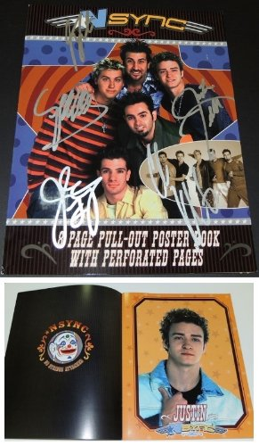 Justin Timberlake, JC Chasez, Lance Bass, Joey Fatone, and Chris Kirkpatrick Autographed - Hand Signed 'NSync 11x14 Photo - Tour Book Cover - Guaranteed to pass PSA or JSA Hand Signed 11x14 Photo
