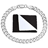 Italian 6.5mm 925 Sterling Silver Nickel-Free Beveled Cuban Curb Link Bracelet, 7'' + Cleaning Cloth