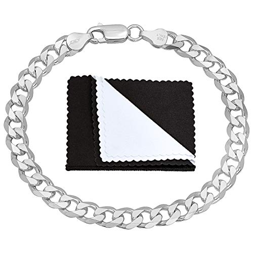 Italian 6.5mm 925 Sterling Silver Nickel-Free Beveled Cuban Curb Link Bracelet, 7