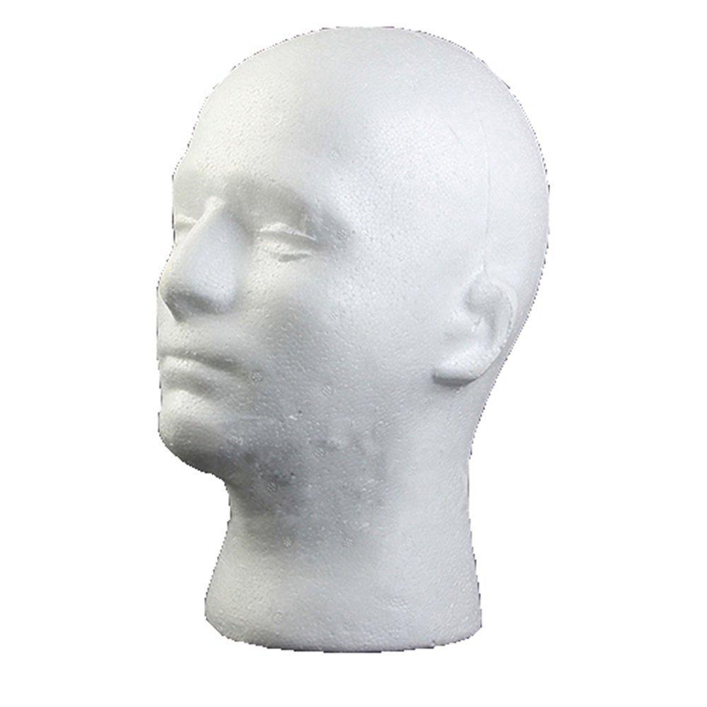 Zhouba Tête de mannequin en mousse de polystyrène Mannequin mâle Modèle Perruque Lunettes Chapeau support de présentation