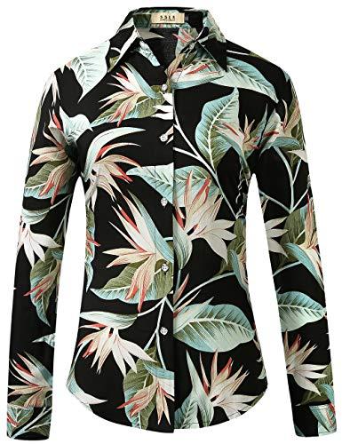 SSLR Women's Floral Casual Button Down Long Sleeve Hawaiian Shirts (Small, Black Green) ()