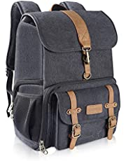 """Endurax Canvas Camera Backpack Bag for Photographers DSLR Backpacks fit up to 15.6"""" Laptop Rain Cover Included"""