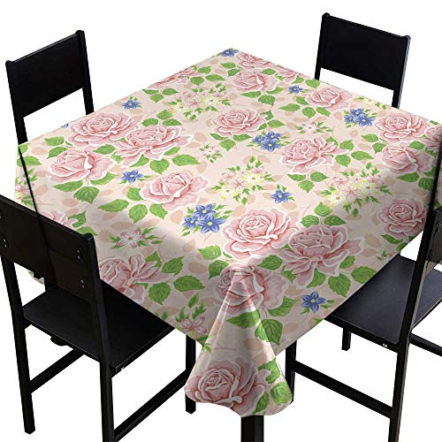 (Warm Family Stain-Resistant Tablecloth Seamless Wallpaper Pattern with Roses Vector for Kitchen Dinning Tabletop Decoration W70 x L70)