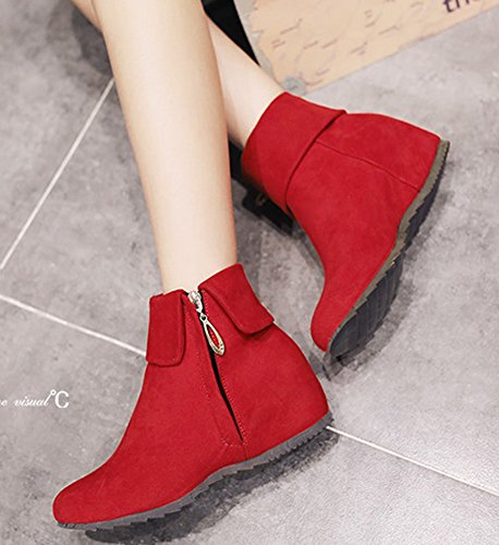 IDIFU Womens Sweet Fold Side Zip Up Flat Heighten Ankle Boots Faux Suede Short Booties Red 8pveEX