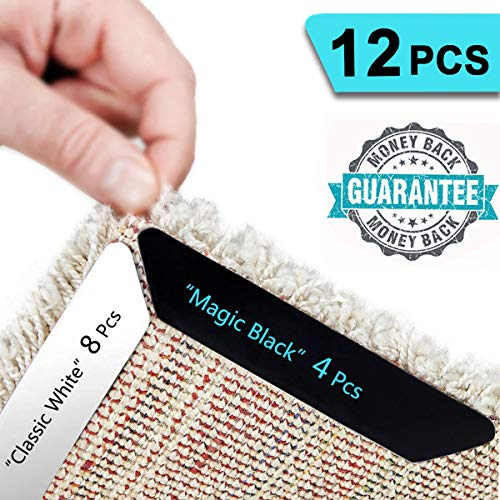 HAIOOU Rug Gripper, 8+4 Pcs Non Slip Rug Corner Grippers Anti Slip Carpet Tape Grips, Advanced with Renewable Adhesive Pad for Hardwood Floors - Ideal Area Rug Runner Stoppers to Ensure Safety