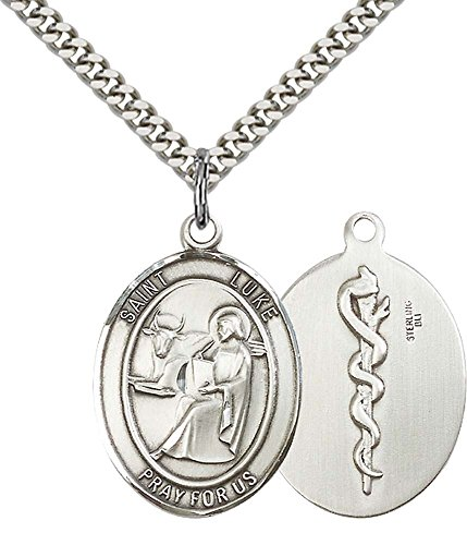 F A Dumont Sterling Silver St. Luke the Apostle Pendant with 24
