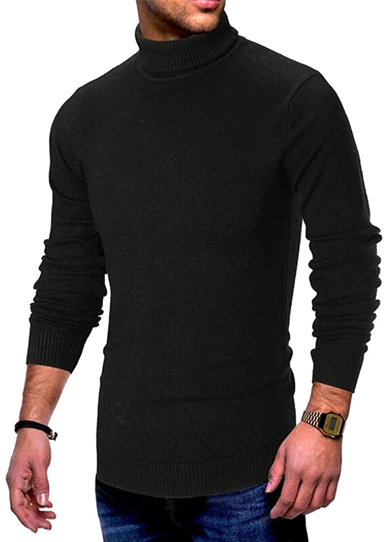 SHOWNO Mens Warm High Collar Long Sleeve Solid Knitting Fashion Pullover Sweaters