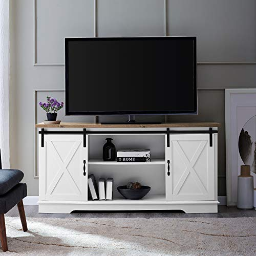"UNIVERSAL LTD Sliding BARN Door TV Stand Console, Modern Entertainment Center UP to 65"" and Adjustable Storage Shelves Sturdy and Wide (White/Rustic Oak)"