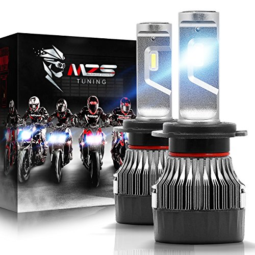 MZS H7 LED Headlight Bulbs Pair for Motorcycle,Mini Conversion Kit - CREE Chips - 6500K 10000Lm Extremely Bright
