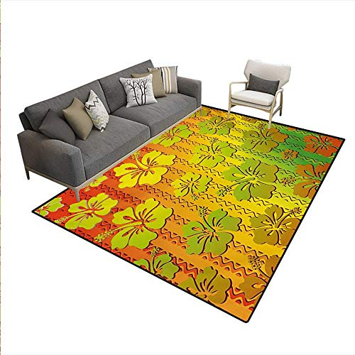 8' Natural Hibiscus Island Decor - Floor Mat,Hibiscus Exotic Jamaican Island Flower Zig Zag Lines Print,Small Rug Carpet,Pale Green Red Marigold,5'x8'