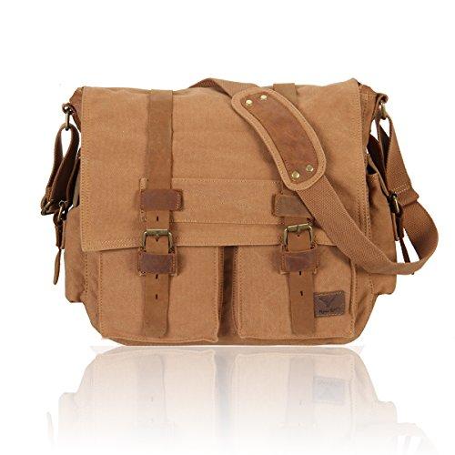 Hynes Eagle Multifunctional Canvas Messenger Bag Brown