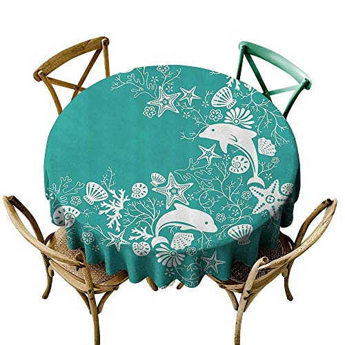 one1love Waterproof Table Cover Sea Animals Dolphins Flowers Sea Life Floral Pattern Starfish Coral Seashell Wallpaper High-end Durable Creative Home 67 INCH Sea Green White