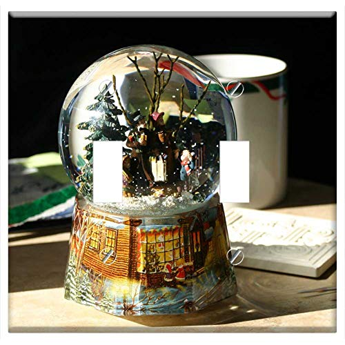 Switch Plate Double Toggle - Snow Globe Christmas Snow Holiday December