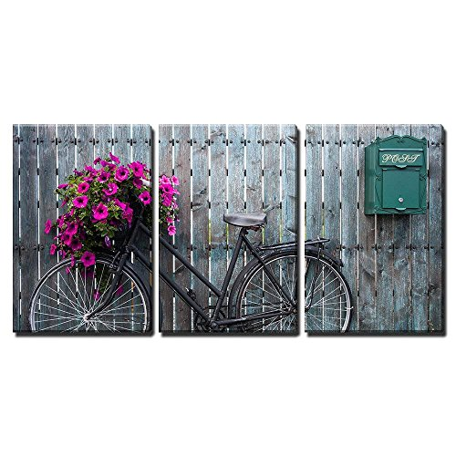 - wall26 - 3 Piece Canvas Wall Art - Old Vintage Bicycle with Flower Basket - Modern Home Decor Stretched and Framed Ready to Hang - 16