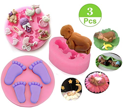 Fondant Mold,3D Silicone Baby Feet,Sleeping Baby, Baby Shower Theme Cake Decorating Mold,Chocolate Mold Baking Tool, Set of 3 ()