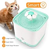 SUKI&SAMI Pet Fountain Cat Water Dispenser Health Drinkwell Water Fountain 2L Quiet Flower,Automatic Electric Water Bowl Dogs, Cats, Birds Small Animals, Green, Smart Version