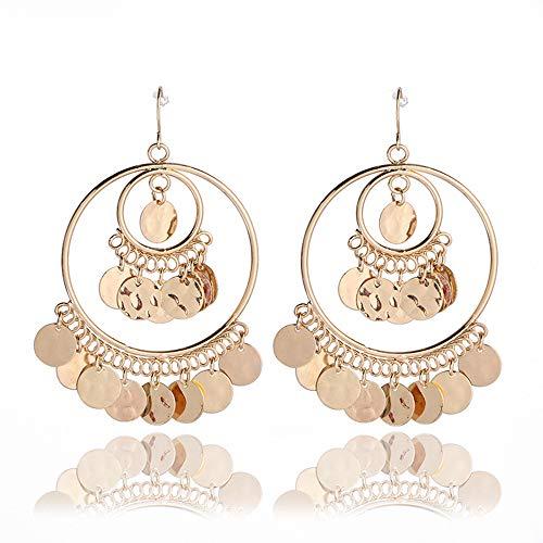 choice of all Bohemian Gold Coin Drop Earrings - Big Hoop Banjara Kuchi Belly Dance Chain Boho Gypsy Dangle Earrings (A:Gold) (Gypsy Coins)