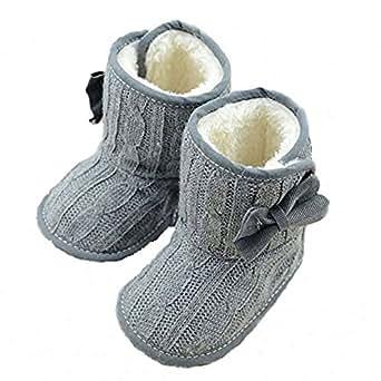 CdyBox Little Baby Fleece Fur Knit Snow Boots Infant Warm Winter for 0-18 Months (0-6 Months, Grey)