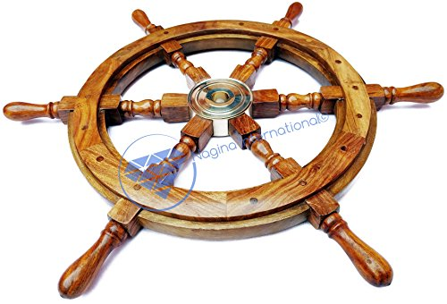Nautical Handcrafted Wooden Ship Wheel - Home Wall Decor -