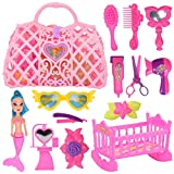 Girls Pretend Play Toys Set,14 Pieces Mermaid Dress up Kit,Including a Mermaid Doll Mirror Comb Scissors