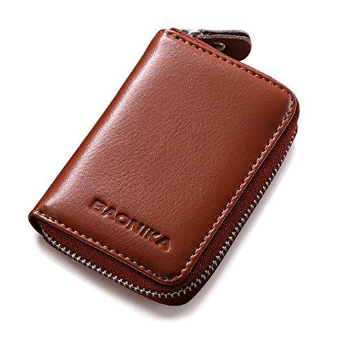 CartearancioneMarrone della carta Titolare Rfid Portafoglio Titolare Zipper carta Baonika della Leather 9 Genuine Spazio uJT13lKcF