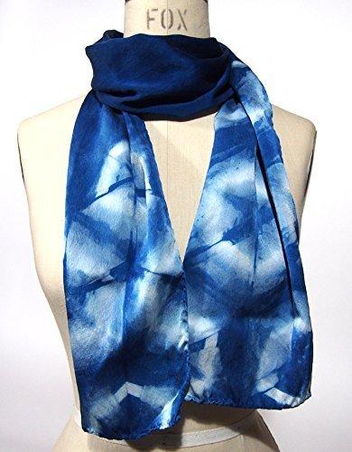 FREE SHIPPING Dom US, Blue Scarf, Silk Scarf, Indigo dyed, Hexagon Motif - Handmade in California