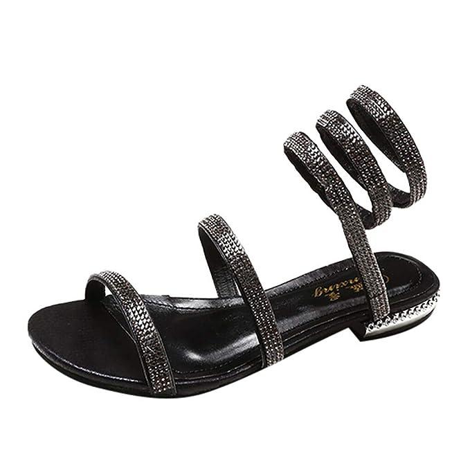 32775f71c2a6 Amazon.com  GONKOMA Women s Sandals Shoes Rhinestone Flat Sandals Casual Beach  Sandals Party Shoes Sandals Roman Sandals  Clothing