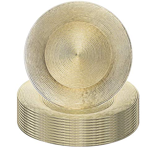 (Simply Home USA 13'' Plate Charger Gold Rippled Round Premium Finest Quality, Pack Of 12)