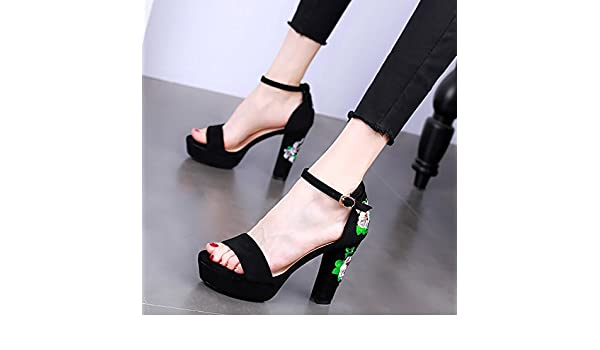99e669af07 KPHY-En Verano 11Cm De Tacon Alto Impermeable Mesas Tacones Gruesos Moda  Sandalias Dedos De Los Pies Sexy Una Palabra Hebilla Princesa Zapatos De  Mujer.