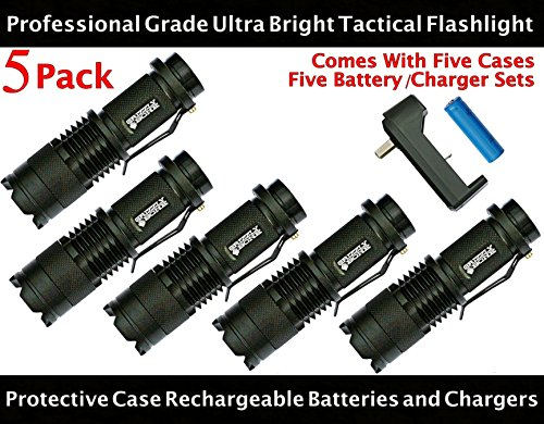 NEW-5-PACK-Professional-Grade-Ultra-Bright-Tactical-Flashlight-300-Lumen-LED-Rechargeable-Kit-Zoomable-Spotlight-Best-Boy-Scouts-Bugout-Bag-Power-Outage-Great-Camping-Lantern-Outdoor-Survival-Gear