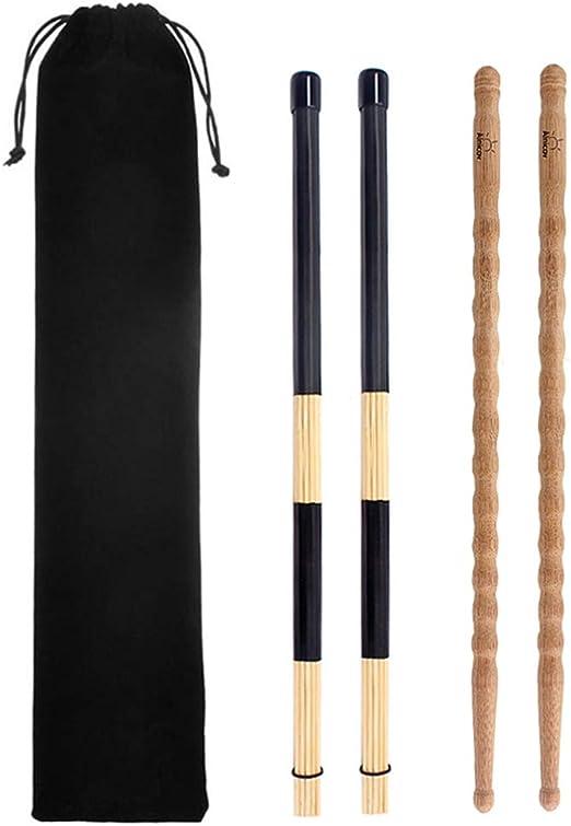 SUPVOX Baquetas Baquetas y Baquetas Piezas de batería de bambú con Bolsa Negra para batería de percusión 1 Juego: Amazon.es: Hogar