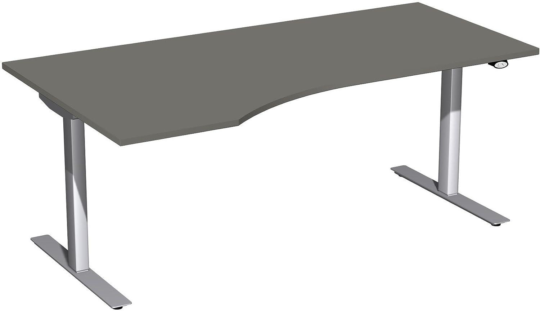 Geramöbel Elektro-Hubtisch links höhenverstellbar, 1800x1000x680-1160, Graphit/Silber