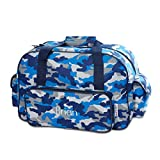 Personalized Kids Blue Camo Small Duffel Bag -18'' Long, Boy Sports Bag